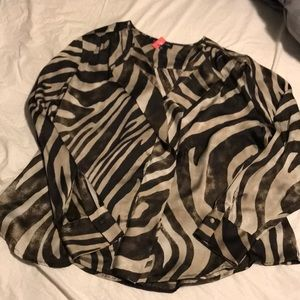 Jones NY 16W brown leopard blouse